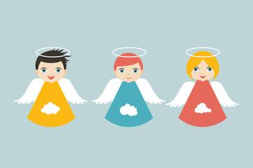 Angels cartoon illustration in flat style. Vector.