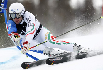 David Simoncelli of Italy skis to the eighth best time in the first heat of the men's World Cup giant slalom in Beaver Creek