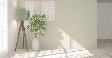 White modern room with lamp. Scandinavian interior design. 3D illustration