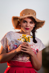 Vintage girl on the countryside