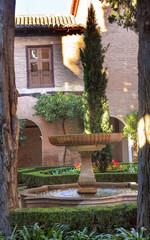 Alhambra Courtyard Fountain Patio Granada Andalusia Spain