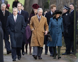 Britain's Prince Andrew, Prince William, Catherine, Duchess of Cambridge, Prince Charles, Prince Harry, and Camilla, Duchess of Cornwall arrive for a Christmas Day service at St Mary Magdalene Church on the Royal estate at Sandringham, Norfolk in east Engl