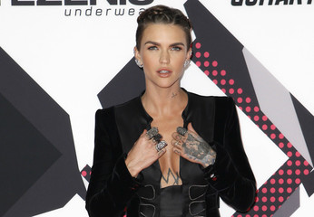 Australian model Ruby Rose poses on the red carpet during the MTV EMA awards at the Assago forum in Milan