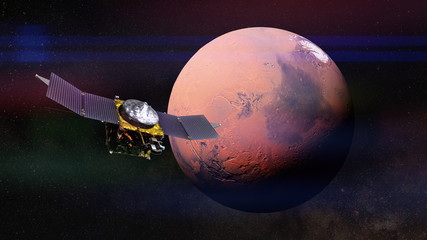 MAVEN space probe in front of planet Mars