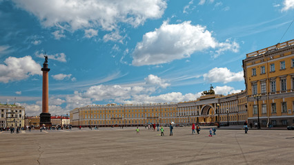 Alexander Column. Palace Square in St. Petersburg, Russia.