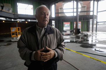 James Sandoro, founder of the Buffalo Transportation Pierce Arrow Museum, gestures in the museum in Buffalo