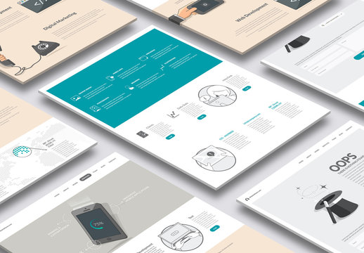 Illustrated Web Layout with Icons 3