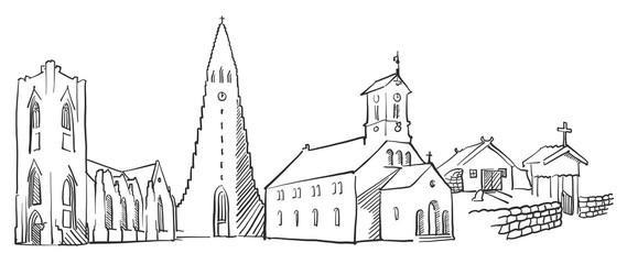 Reykjavik Iceland Panorama Sketch