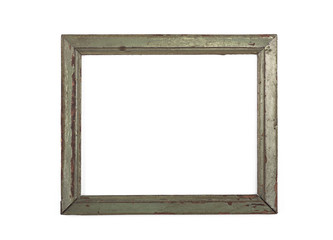Rectangular, simple, old, rustic frame on a white background