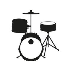 Drum set on white background