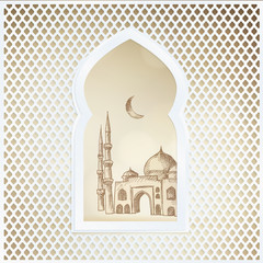 Arabic window with the hand drawn sketch of moon and the mosque. Greeting card, invitation for Muslim community holy month Ramadan Kareem. Vector illustration background.