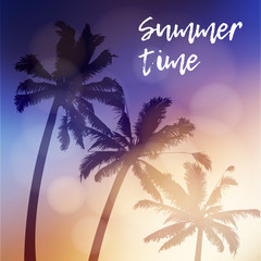 Summer time greeting card, invitation. Silhouette of palm trees again the sky during the beautiful sunset. Tropical jungle design. Vacation concept. Vector illustration background.