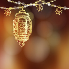 Illuminated hand drawn sketch of Arabic lamp, lantern and decorative party string. Blurred vector illustration background for Muslim community holy month Ramadan Kareem.