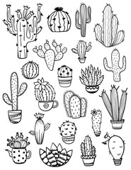Set Of Sketch Cactus Icons.