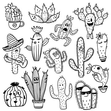 Set Of Funny Cactus Characters.
