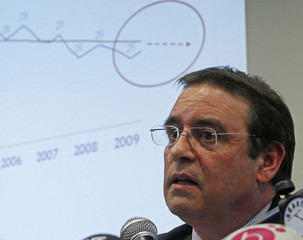 Carrefour Belgium Chief Executive Officer Gerard Lavinay speaks at a news conference in Brussels