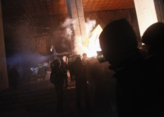 """Anti-government protesters try to enter the """"Ukrainian house"""" where riot police were located during a rally in Kiev"""