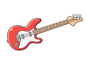 Red electric guitar isolated.