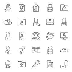 Lock and Key icon set on white background