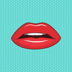 Female lips on turquoise background. Pop art style