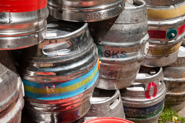 Beer kegs used to store drinks stacked up