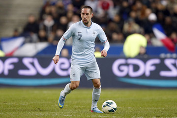 France's Franck Ribery manages the ball during their 2014 World Cup qualifying soccer match at the Stade de France stadium in Saint-Denis