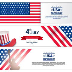 United States Independence Day Holiday 4 July Horizontal Banners Set Flat Vector Illustration