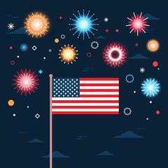 United States Flag Over Fireworks Background Independence Day Holiday 4 July Banner Flat Vector Illustration