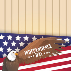Eagle Over United States Flag Independence Day Holiday 4 July Banner Flat Vector Illustration