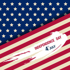 United States Independence Day Holiday 4 July Greeting Card Flat Vector Illustration