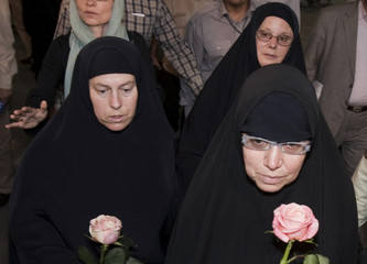 The mothers of three Americans jailed in Iran since last July accused of spying arrive at Imam Khomeini International Airport