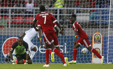 Congo's Thievy Bifouma celebrates scoring a goal during their quarter-final soccer match of the 2015 African Cup of Nations against Democratic Republic of Congo in Bata