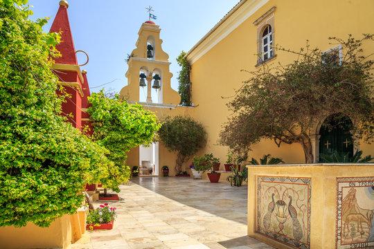 View of Monastry in Palaiokastritsa, town in Corfu, Greece