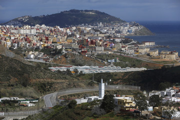 The border fence which separates Morocco and Spain's north African enclave of Ceuta is seen