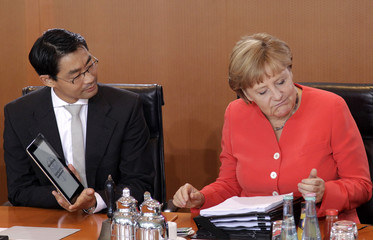 German Economy Minister Roesler shows Chancellor Merkel an iPad he uses to work with as she grimaces at the hefty pile of paper documents in Berlin