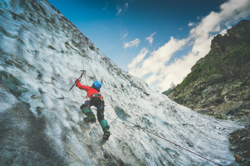 Climber on a glacier. Instagram stylisation