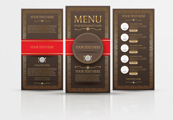 Restaurant Menu with Gold Accents Layout 1