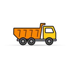 Dump truck tipper color icon, Vector Illustration on white.