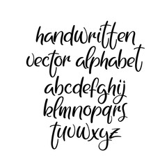 Handwritten brush font. Brushpen vector alphabet. Modern calligraphy abc. Isolated
