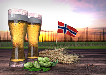 beer consumption in Norway. 3D render
