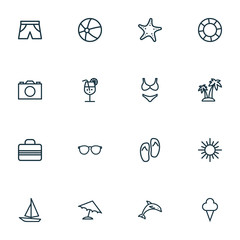 Sun Outline Icons Set. Collection Of Palm, Ice Cream, Baggage And Other Elements. Also Includes Symbols Such As Glasses, Panties, Flop.