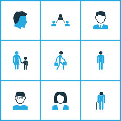 People Colorful Icons Set. Collection Of Business, Human, Contact And Other Elements. Also Includes Symbols Such As Contact, Human, Man.