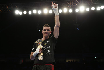 Callum Smith celebrates winning the fight