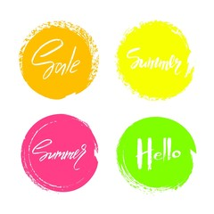 Set of hand drawn universal colorful circles signs, badges, stickers, backgrounds for advertising, text, business, promotion. Summer hand written lettering.