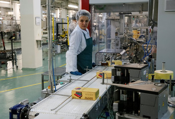 A employee works at the Roshen confectionery factory in Vinnytsia