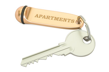 Apartments key with keychain, 3D rendering