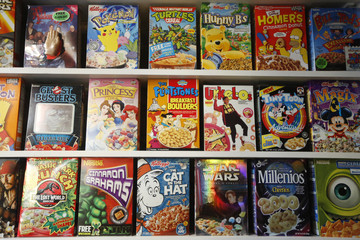 "Boxes of cereal sit on shelves at the ""Cereal Killer Cafe"" in east London"