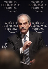 IMF's first deputy managing director John Lipsky attends a session at the WEF in Davos