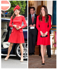 A combination photo shows Britain's Catherine, Duchess of Cambridge, arriving for Queen Elizabeth's Diamond Jubilee River Pageant on June 3, 2012 and attending a reception for the dramatic arts in London (R) February 17, 2014