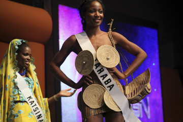 Contestant Nduka displays her costume at the opening of the 24th edition of Most Most Beautiful Girl in Nigeria (MGBN) beauty pageant in Lagos